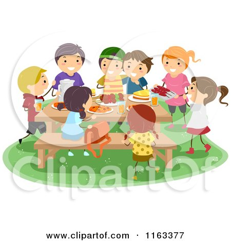 Cartoon of a Group of Happy Kids Having a Picnic - Royalty Free Vector Clipart by BNP Design Studio