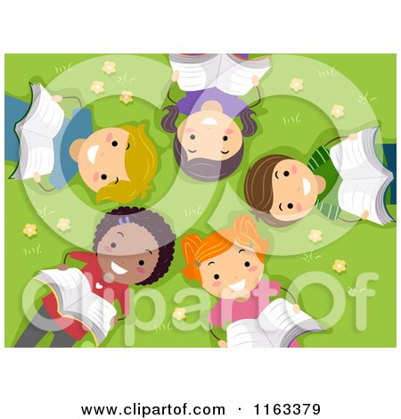 Cartoon of Happy Diverse Children Reading and Laying on Grass in a Circle - Royalty Free Vector Clipart by BNP Design Studio