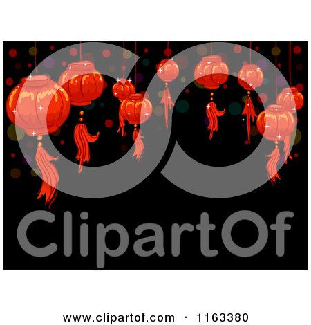 Cartoon of Red Chinese New Year Lanterns and Dots over Black with Copyspace - Royalty Free Vector Clipart by BNP Design Studio