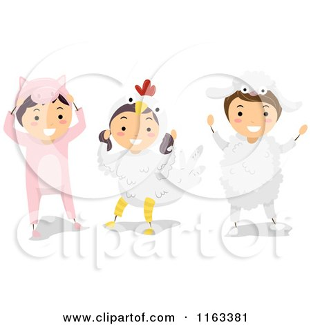 Cartoon of Happy Children in Pig Chicken and Sheep Farm Animal Costumes - Royalty Free Vector Clipart by BNP Design Studio