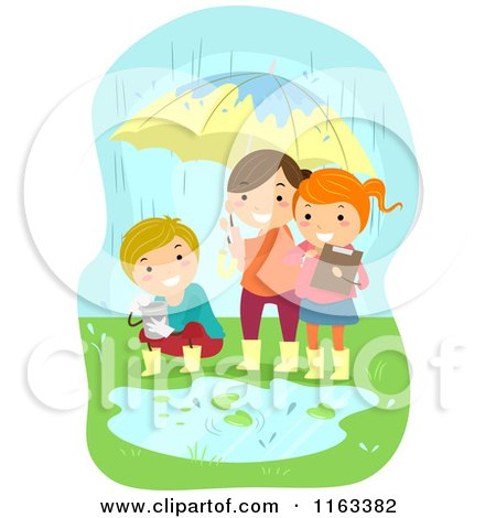 Cartoon of Happy Children Conducting an Experiment in the Rain - Royalty Free Vector Clipart by BNP Design Studio