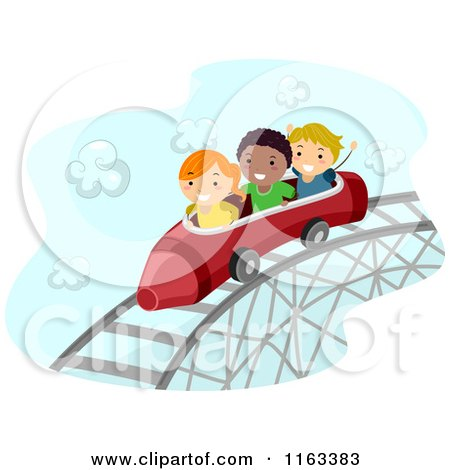Cartoon of Happy Diverse Children on a Crayon Roller Coaster - Royalty Free Vector Clipart by BNP Design Studio