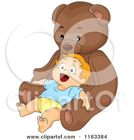 Cartoon of a Happy Baby Boy Leaning Back Against a Giant Teddy Bear - Royalty Free Vector Clipart by BNP Design Studio