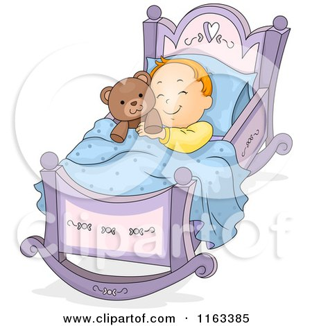 Cartoon of a Baby Boy Sleeping in a Rocking Cradle with a Teddy Bear - Royalty Free Vector Clipart by BNP Design Studio