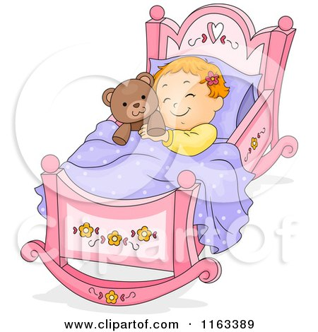 Cartoon of a Baby Girl Sleeping in a Rocking Cradle with a Teddy Bear - Royalty Free Vector Clipart by BNP Design Studio