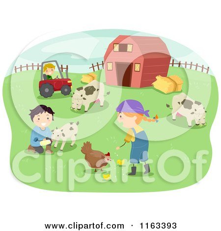 Cartoon of Happy Children Tending to Chickens Goats and Cows on a Farm - Royalty Free Vector Clipart by BNP Design Studio