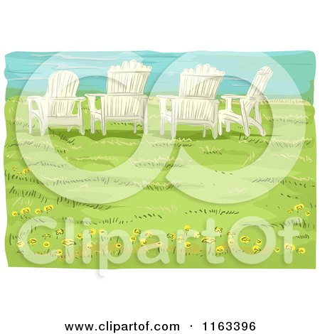 Cartoon of Adirondack Chairs on a Bluff over a Beach - Royalty Free Vector Clipart by BNP Design Studio