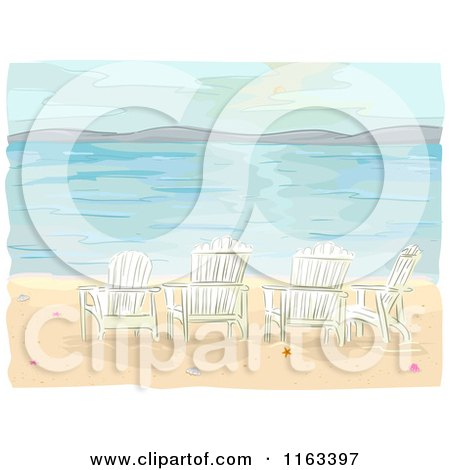 Cartoon of Adirondack Chairs on a Beach - Royalty Free Vector Clipart by BNP Design Studio