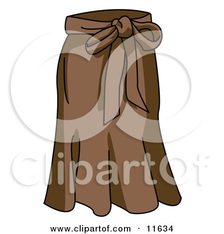 Ladies Long Brown Skirt With a Bow Tie Clipart Picture by AtStockIllustration