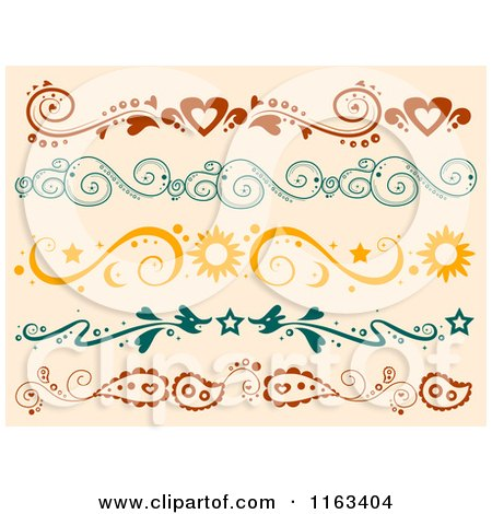 Cartoon of Heart Swirl Sun and Paisley Borders on Tan - Royalty Free Vector Clipart by BNP Design Studio