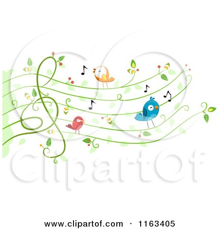 Cartoon of Singing Birds on a Vine Music Chart - Royalty Free Vector Clipart by BNP Design Studio