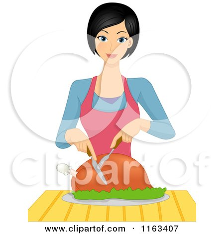 Cartoon of a Happy Woman Carving a Roasted Chicken - Royalty Free Vector Clipart by BNP Design Studio