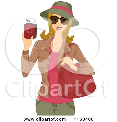 Cartoon of a Female Tourist Holding Her Passport - Royalty Free Vector Clipart by BNP Design Studio