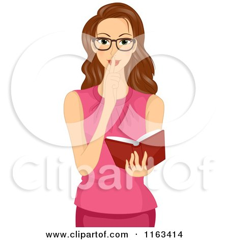 Cartoon of a Brunette Woman Shushing and Holding a Book - Royalty Free Vector Clipart by BNP Design Studio