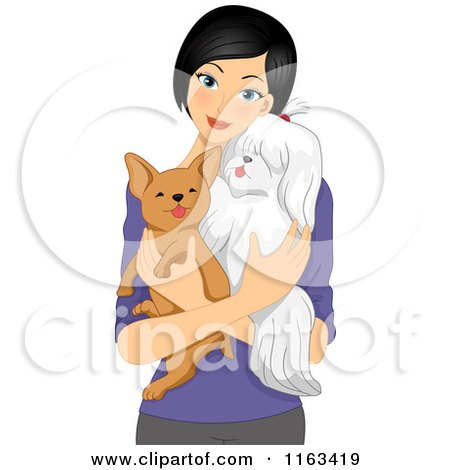 Cartoon of a Woman Hodling Her Two Dogs - Royalty Free Vector Clipart by BNP Design Studio