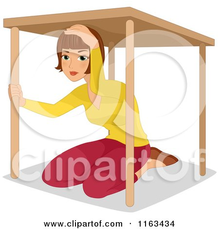 Cartoon of a Woman Under a Table During an Earthquake Drill - Royalty Free Vector Clipart by BNP Design Studio