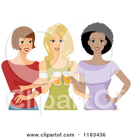 Cartoon of a Diverse Group of Ladies Drinking Beer - Royalty Free Vector Clipart by BNP Design Studio