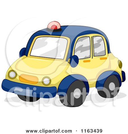 Cartoon of a Toy Police Car in Blue and Yellow - Royalty Free Vector Clipart by BNP Design Studio