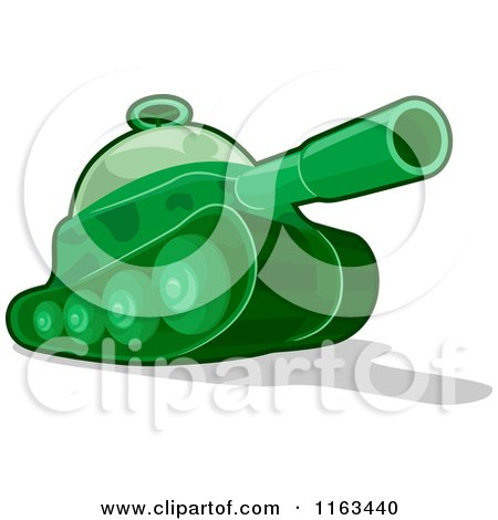 Cartoon of a Green Toy Military Tank - Royalty Free Vector Clipart by BNP Design Studio
