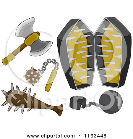 Cartoon of medieval weapons and torture devices royalty free vector clipart by bnp design - Clipart tortue ...