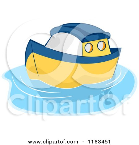 Cartoon Boats on Water Yellow Toy Boat on Water