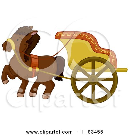 Cartoon of an Ancient Horse Drawn Chariot - Royalty Free Vector Clipart by BNP Design Studio