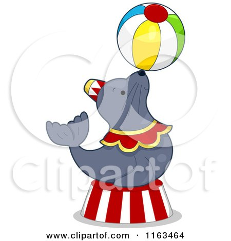 Cartoon of a Circus Seal Balancing a Ball - Royalty Free Vector Clipart by BNP Design Studio