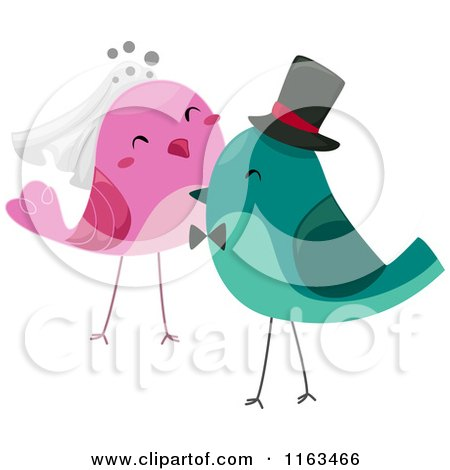 Cartoon of Bride and Groom Wedding Birds - Royalty Free Vector Clipart by BNP Design Studio