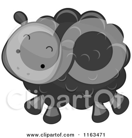 Cartoon of a Cute Black Sheep Lamb - Royalty Free Vector Clipart by BNP Design Studio