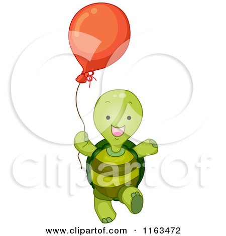 Cartoon of a Happy Turtle with a Balloon - Royalty Free Vector Clipart by BNP Design Studio