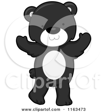Cartoon of a Cute Black Bear Standing - Royalty Free Vector Clipart by BNP Design Studio
