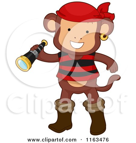 Cartoon of a Monkey Pirate Holding a Telescope - Royalty Free Vector Clipart by BNP Design Studio