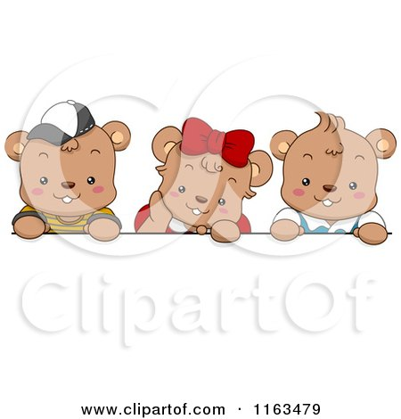 Cartoon of Cute Bear Kids over a Blank Sign - Royalty Free Vector Clipart by BNP Design Studio