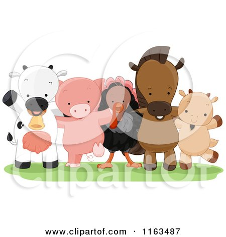 Cartoon of a Group of Happy Farm Animals Standing - Royalty Free Vector Clipart by BNP Design Studio