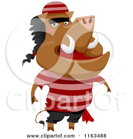 Cartoon of a Boar Pirate - Royalty Free Vector Clipart by BNP Design Studio