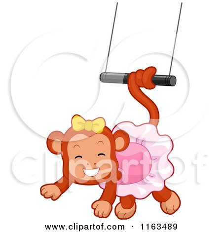 Cartoon of a Circus Monkey Swinging from a Trapeze - Royalty Free Vector Clipart by BNP Design Studio