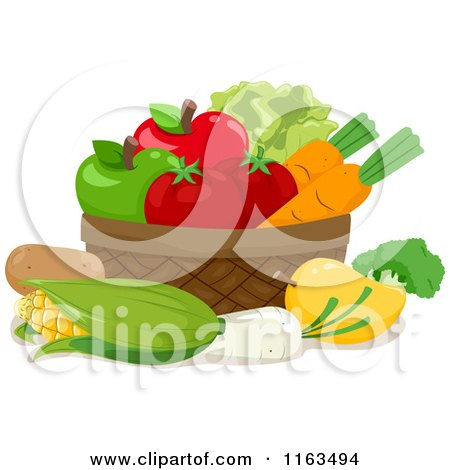 Cartoon of a Basket of Produce - Royalty Free Vector Clipart by BNP Design Studio