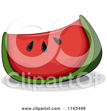 Cartoon of a Wedge of Watermelon - Royalty Free Vector Clipart by BNP Design Studio