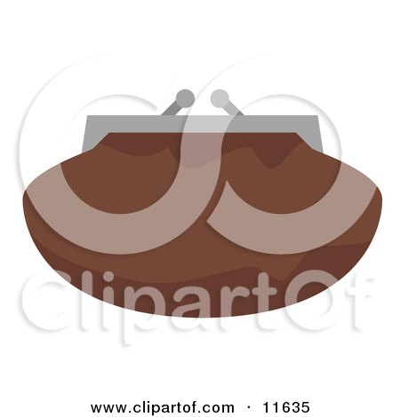 Brown Clutch Bag Purse With a Snap Close Clipart Picture by AtStockIllustration