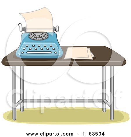 Cartoon of a Typewriter and Paper on a Table - Royalty Free Vector Clipart by BNP Design Studio