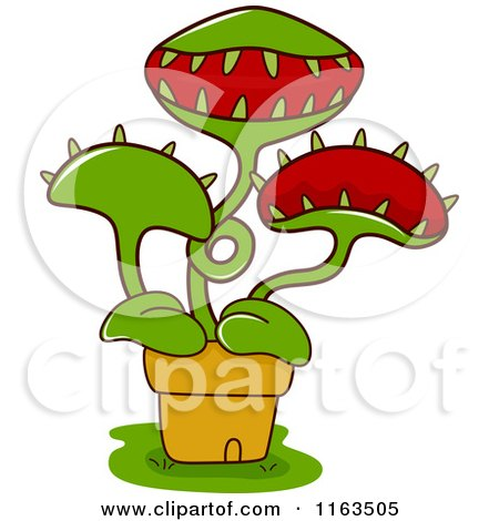 Cartoon of a Potted Venus Fly Trap Plant - Royalty Free Vector Clipart by BNP Design Studio
