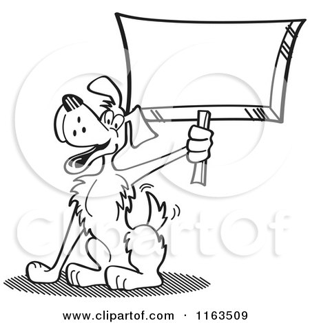 Cartoon of a Black and White Dog Mascot Holding up a Sign - Royalty Free Vector Clipart by Andy Nortnik