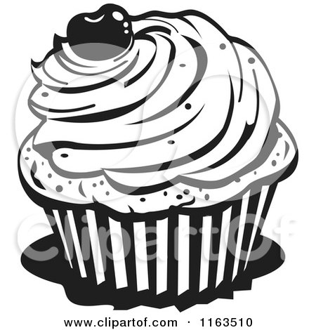 Clipart Of A Black And White Cupcake With A Cherry On Top