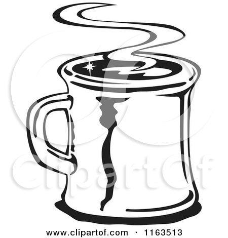 Clipart of a Retro Black and White Steamy Mug of Coffee - Royalty Free Vector Illustration by Andy Nortnik