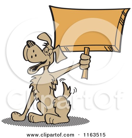 Cartoon of a Happy Dog Mascot Holding up a Sign - Royalty Free Vector Clipart by Andy Nortnik