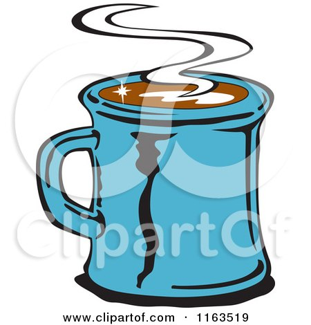 Clipart of a Retro Blue Steamy Mug of Coffee - Royalty Free Vector Illustration by Andy Nortnik