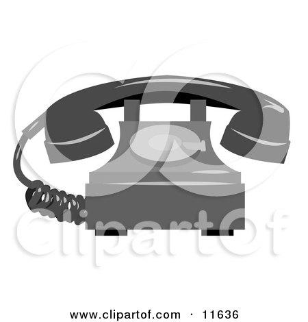 Rotary Landline Telephone Clipart Illustration by AtStockIllustration