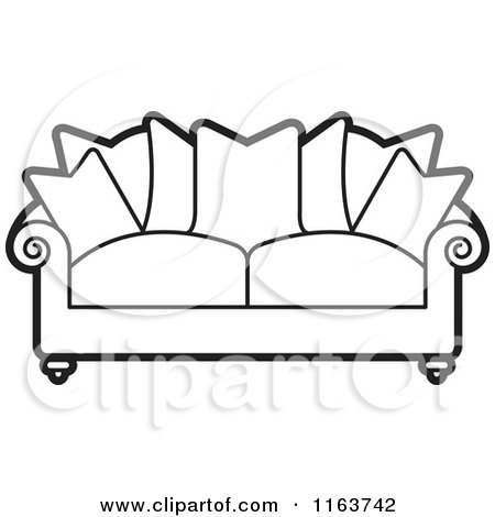 white pillow clipart. black and white sofa with couch pillows pillow clipart