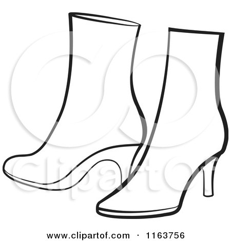 Clipart Of A Pair Of Purple Womens Boots Royalty Free