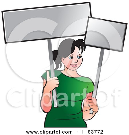 Clipart of a Happy Woman in a Green Shirt, Holding Signs - Royalty Free Vector Illustration by Lal Perera